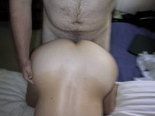 Fucking my wife\'s pussy from behind.