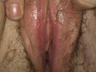 Wife's wet hairy pussy