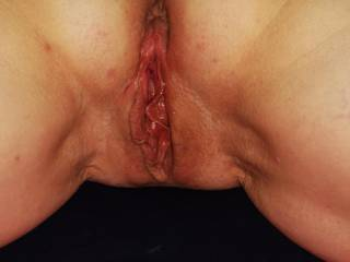 Her wet cunt after one hour pounding... If somebody loves to lick it up right now, leave comments. Ty.