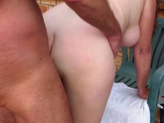 After a long session with toys, making her wet pussy cum hard with the vibrator, we went outdoors in view of the neighbourhood for a naughty public fucking to finish. Do you like my view of her sexy jiggling ass and swinging tits while I fuck her hard?