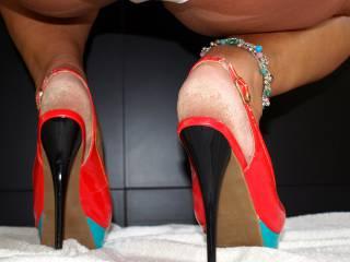 high heels, rough dry soles, my big lips in my undies. oldie but goodie ;-)