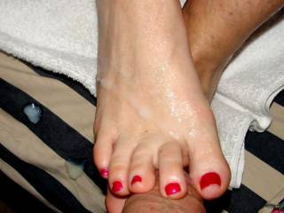 she loves to milk me with her sexy feet and toes...I love to give them my liquid love glaze!