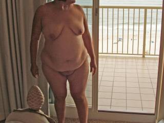 My wife nude on our vacation.  She did not want the people on the neighboring balcony to see her naked.