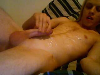 Your cumshots are hot. Love watching your cock squirt that huge load; love your smooth balls, too.