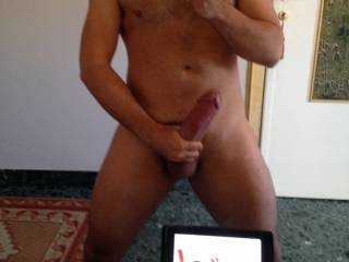 Now that is hot! Love it when a man holds his hard cock in his hands!! Sexy as hell!