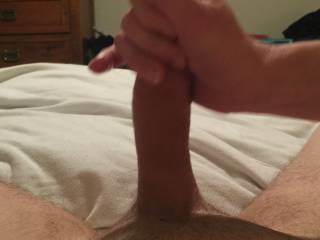 My wife stroking my hard cock