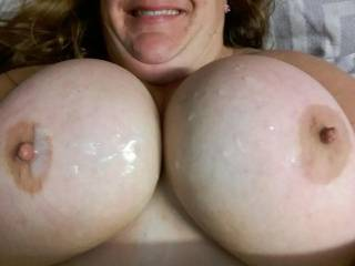 My good old faithful play mate came 2 drop a load of cum on my tits