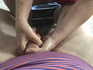 She likes playing with my cock.   After it's good and ready she takes it hard.  Right thing to do correct?