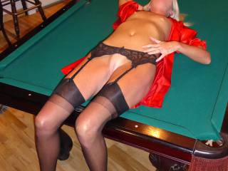 Offered on pool table...spread my legs and fuck me hard