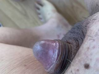 Small Asian cock wet with precum