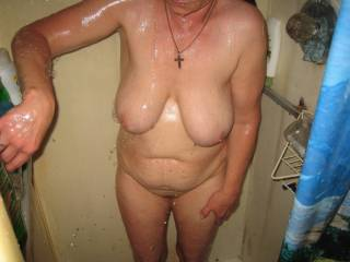 Very nice.  I'd love to cum on over and help you get a little dirty.  Beautiful tits and great curves.  Very hot pic.