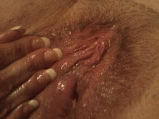 well Im sure that if I rubbed and licked that sweet clit of yours, I would have you just as wet , all depends on weather or not I get your to squirt a few times.   Now I want a taste of that sweet pussy  :)