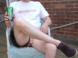 Out in the garden in the glorious sunshine, nothing better than sipping a cold one and letting your cock hang out - do you agree?