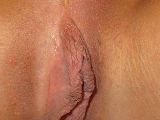 Nicely shaven pussy, just waiting