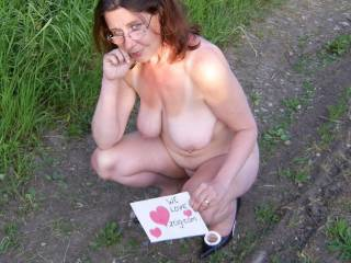I like the garden gnome to sit on my face with those sexy glasses! By he way your tits are hot and would love to play with them.