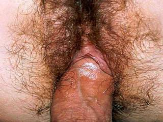 I absolutely LOVE seeing your pussy hairs on his cock.  That is just too fucking hot!!!  **LOVE** all the hair!!!!!!!  The only thing missing is my tongue licking the both of you.