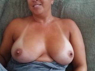 Mr.H said to post this.   Says my tits are hanging perfect in this picture. What do you think?  Love your comments!   Layya ;)