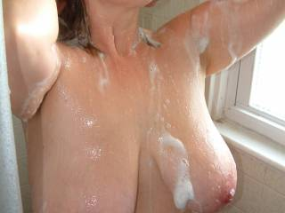 Wife in the shower showing her beautiful huge tits