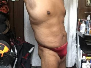 red thong bulge full body