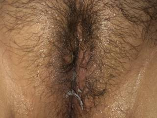 My wife's used pussy. Fucked her with her 8inch dildo and then I fucked her and finished inside her pussy.