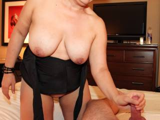 Giving hubby a handjob in a hotel room!
