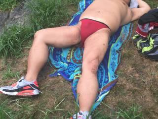 sunbathing, string bikini, bikini, rio, thong