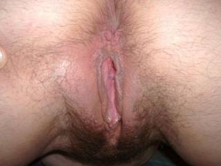 Love hairy, wet, cum filled pussy.  VERY nice!!  LOVE all your hair!