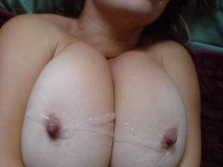 A huge load sprayed on my tits..i have to swallow all this sometimes ;D