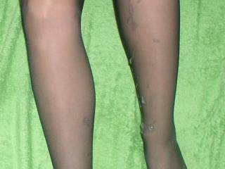 Oh wow! Cum on hose is just the best. I'd love to shoot my cum up your sexy legs.