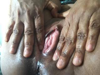 Just wanted to spread my wet pussy. Can you make it wider?