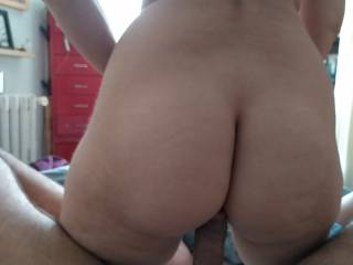 "She Love to fuck her pussy while I lay down and she jump on my 9"" Inches cock which is her favorite one"