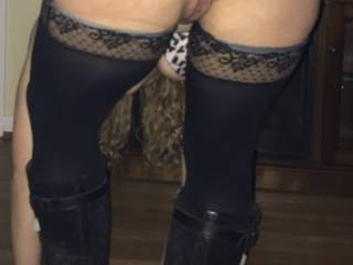Do you like the view?  Leave them on or take them off before getting a nice hard cock to play with?