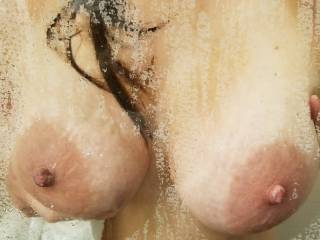 Hotel this weekend had all glass shower. Had wife press her hot tits against the glass. So sexy.