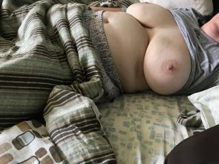 Wife hanging out on Sunday waiting for some football