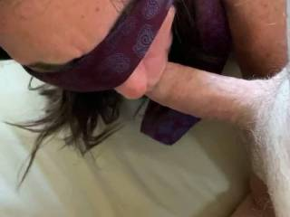 I pulled one of her toys from her pussy and had her lick her cum off of it. I then moved my cock to her mouth. I love watching her suck the toy as if it is a strangers cock.