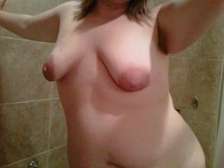 I want a big cock between my tits. Who can wet me up?