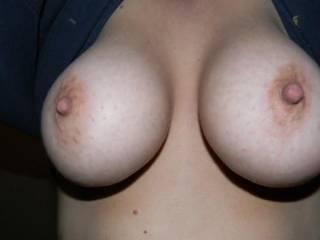 beautiful breasts, so perfect. love those hard sickable nipples.