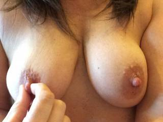 Would love to tweak and pull your beautiful hard nipples as my tongue laps your hot pussy juices and my teeth nibble your clit mmmmmmm