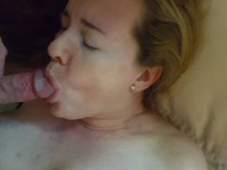 I always close my eyes when I suck cock... maybe I\'m thinking of you instead of hubby... either way, he never minds as long as his cock is getting sucked!