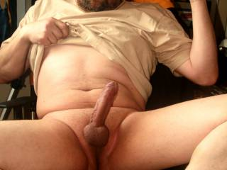 Shaved balls, horny and hard...