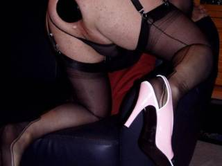 Great pose.  Nicely filled fuck hole and your shoes are fab xxxx
