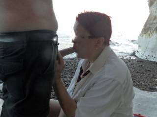 Hi just had to give my hubby a wet blow job on the beach, tasty comments welcome mature couple