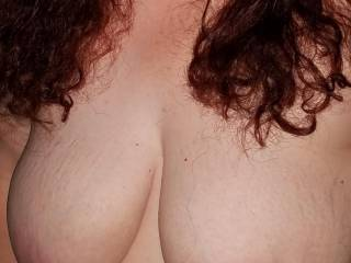 My wife is happy to show you her big tits