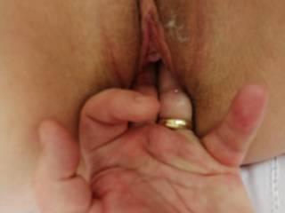 Finger fucking my wet tight pussy, need some attention on my hard little clit.... Any comments 💦💦?