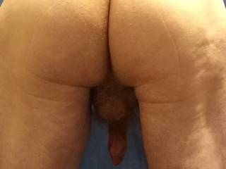 A more usual pose where my flaccid cock is far more visible.