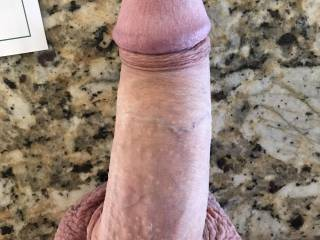 My cock and balls on cool granite countertop