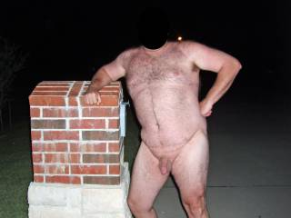 Hubby posing nude in the street in front of our house!  He was so exposed and nervous...made my pussy wet...I loved it!