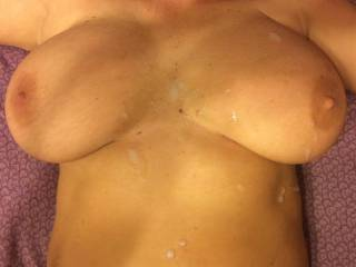 Love to play with these titties!!! She wanted me to cum inside her but I told her that I wanted a picture of my cum on her sexy tits as she knows ALL of the men she\'s been with just can\'t resist!! Could you?