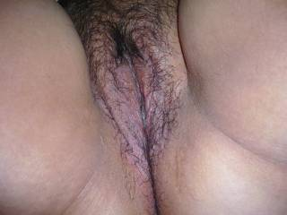 Nice an wet, I would lick her pussy first for you.................