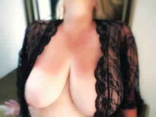 Jen on holiday (remember them!) before she sunbathed topless, would you like to suck her nipples?